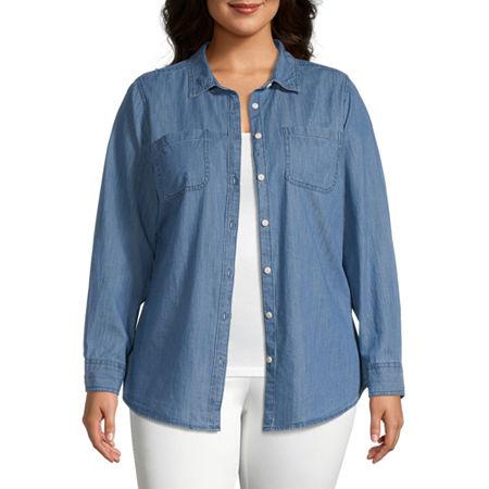 St. John's Bay-Plus Womens Long Sleeve Regular Fit Button-Down Shirt, 2x , Blue