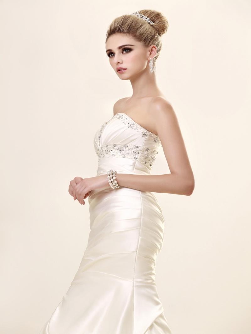 Ericdress Sweetheart Beading Pleats Mermaid Wedding Dress