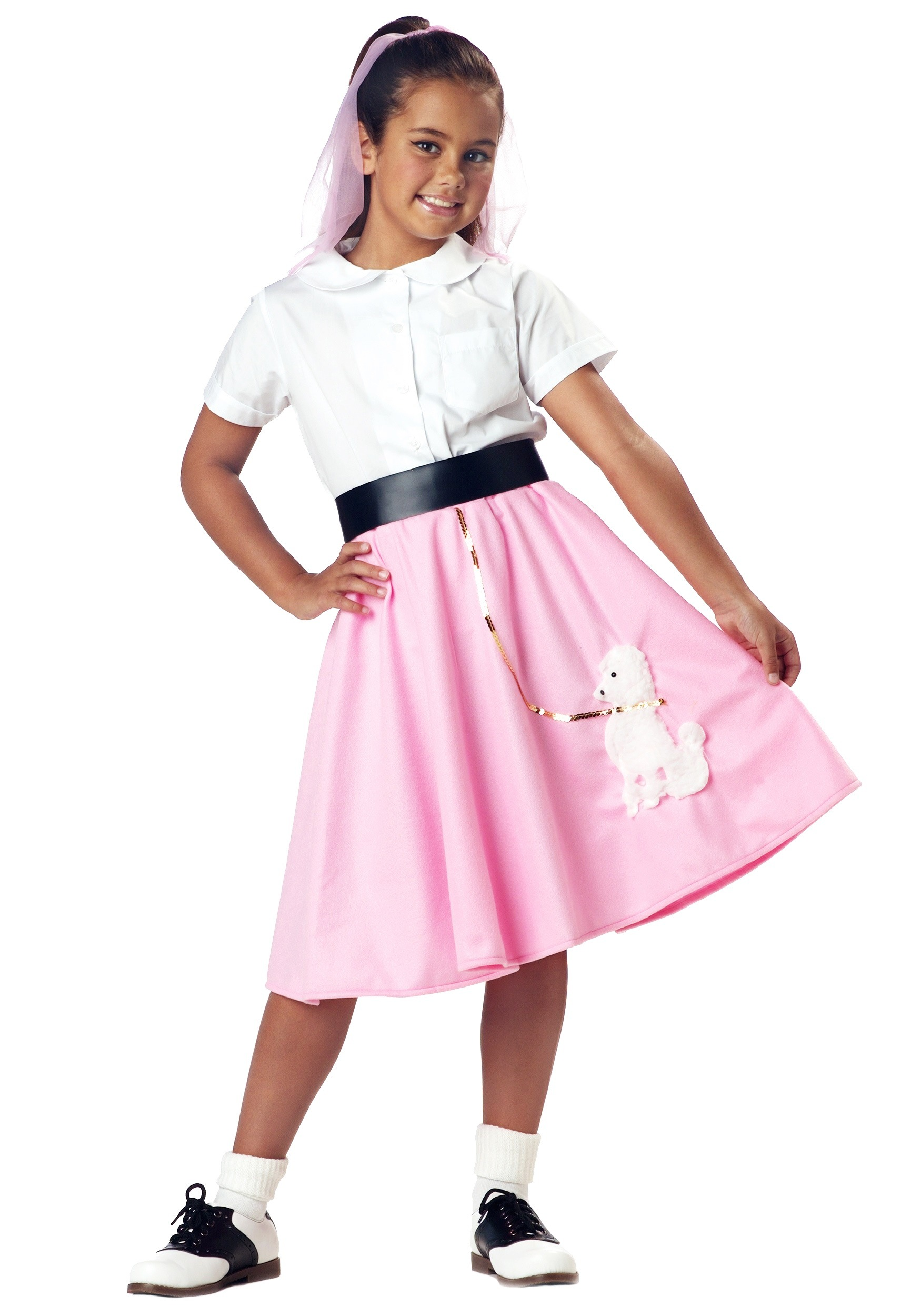 Kids Pink Poodle Skirt Costume