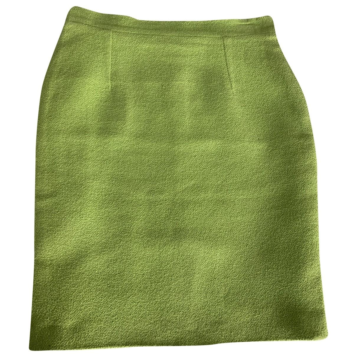 Non Signé / Unsigned Oversize Green Wool skirt for Women 40 FR