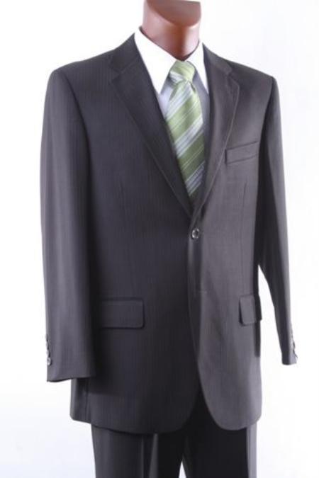 Mens 2 Button Brown Pinstripe Dress Suit Single Pleat