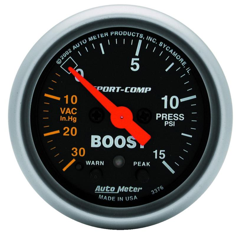 AutoMeter GAUGE; VAC/BOOST; 2 1/16in.; 30INHG-15PSI; STEPPER MOTOR W/PEAK/WARN; SPORT-COMP