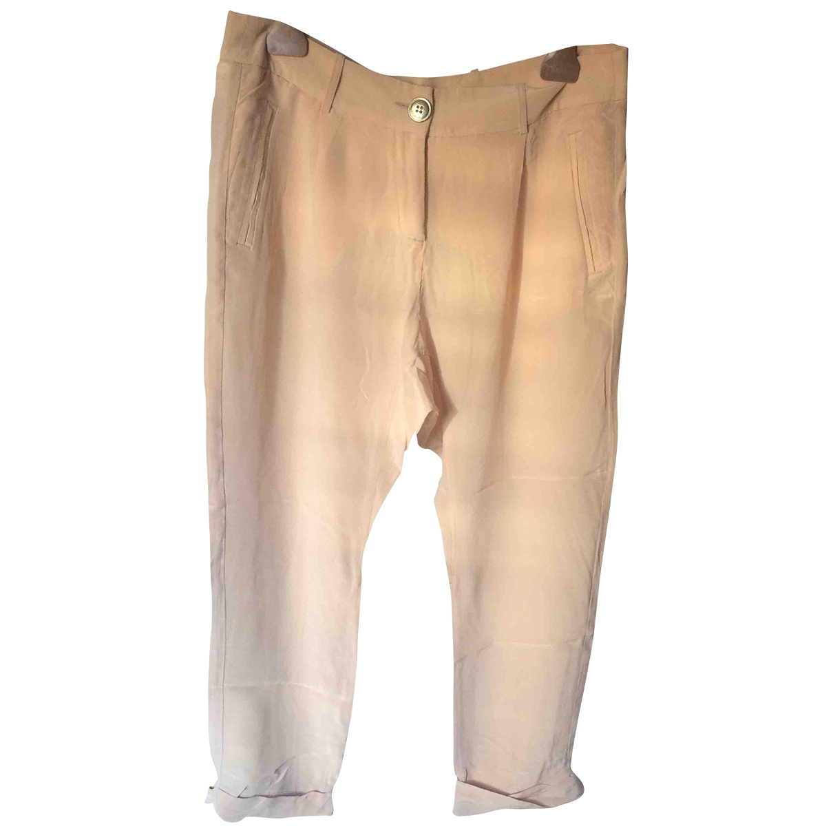Pinko \N Pink Silk Trousers for Women 42 IT