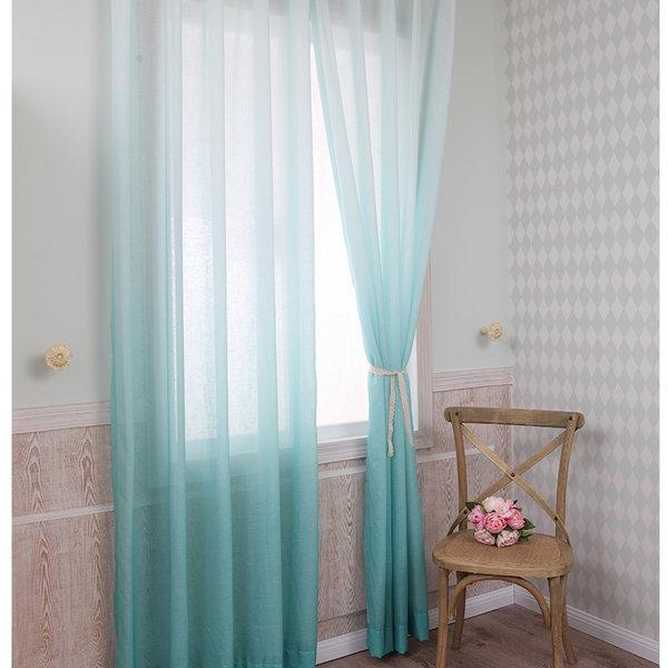 Gorgeous Lake Green Gradient Color Custom Sheer Curtain