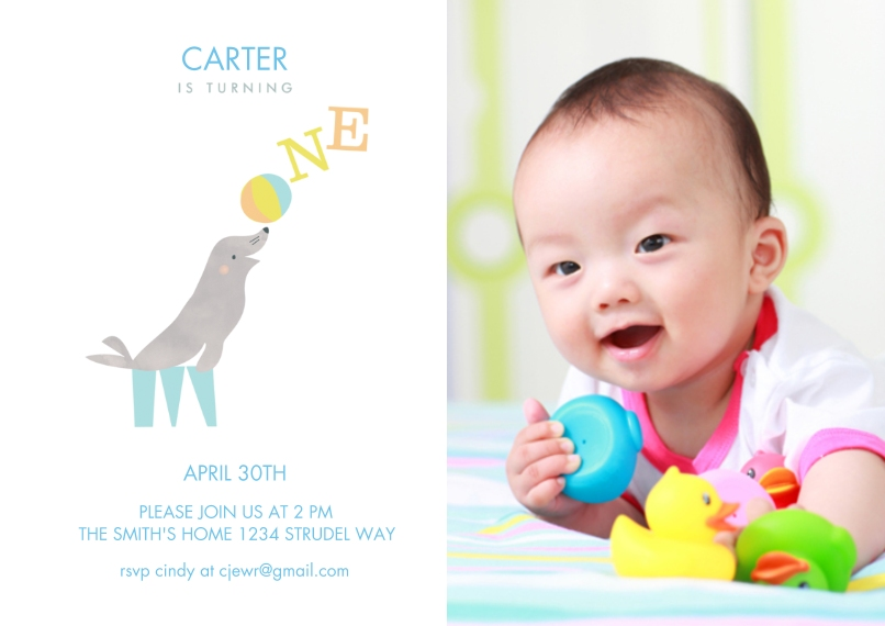 1st Birthday Invitations 5x7 Cards, Premium Cardstock 120lb, Card & Stationery -Playful One