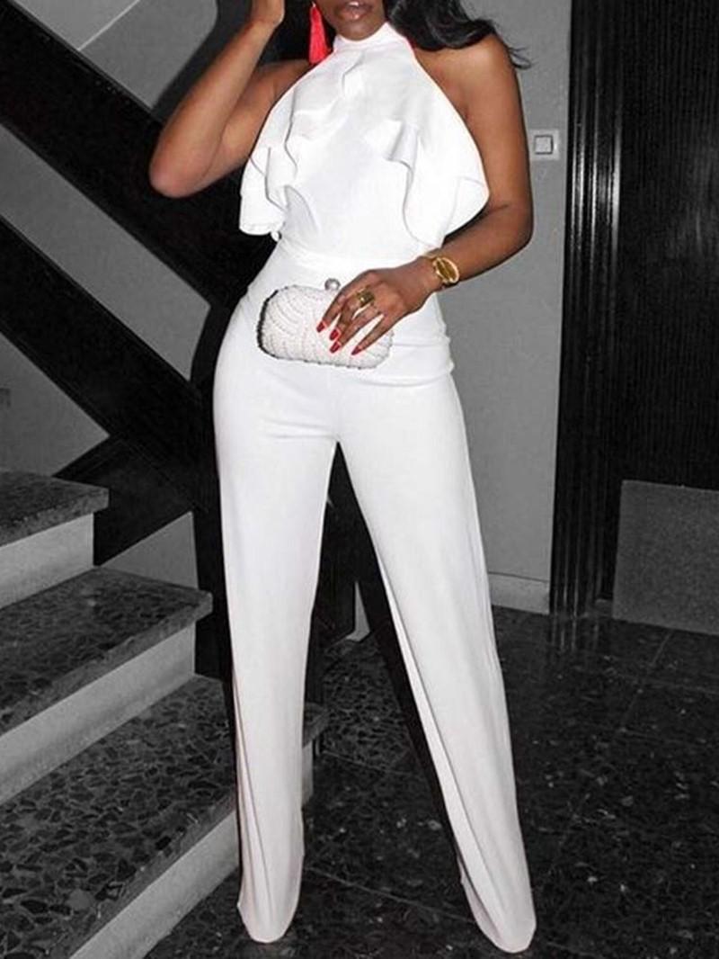 Ericdress White Falbala Prom Dressy Slim Jumpsuit