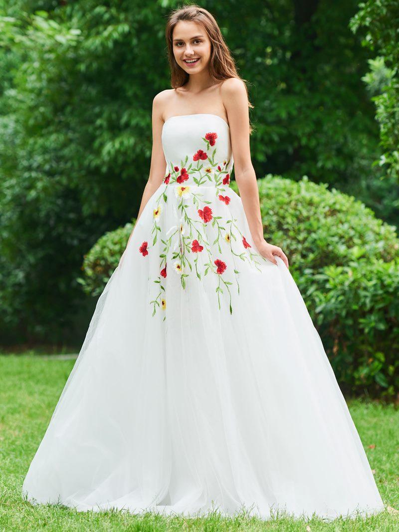 Ericdress A Line Strapless Applique Long Prom Dress
