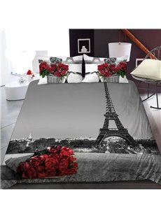 A Bouquet of Roses By The Eiffel Tower 3D Printed Polyester 1-Piece Warm Quilt
