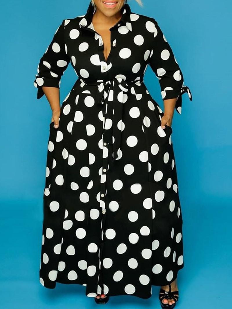 Ericdress Ankle-Length Three-Quarter Sleeve Fashion Polka Dots Dress