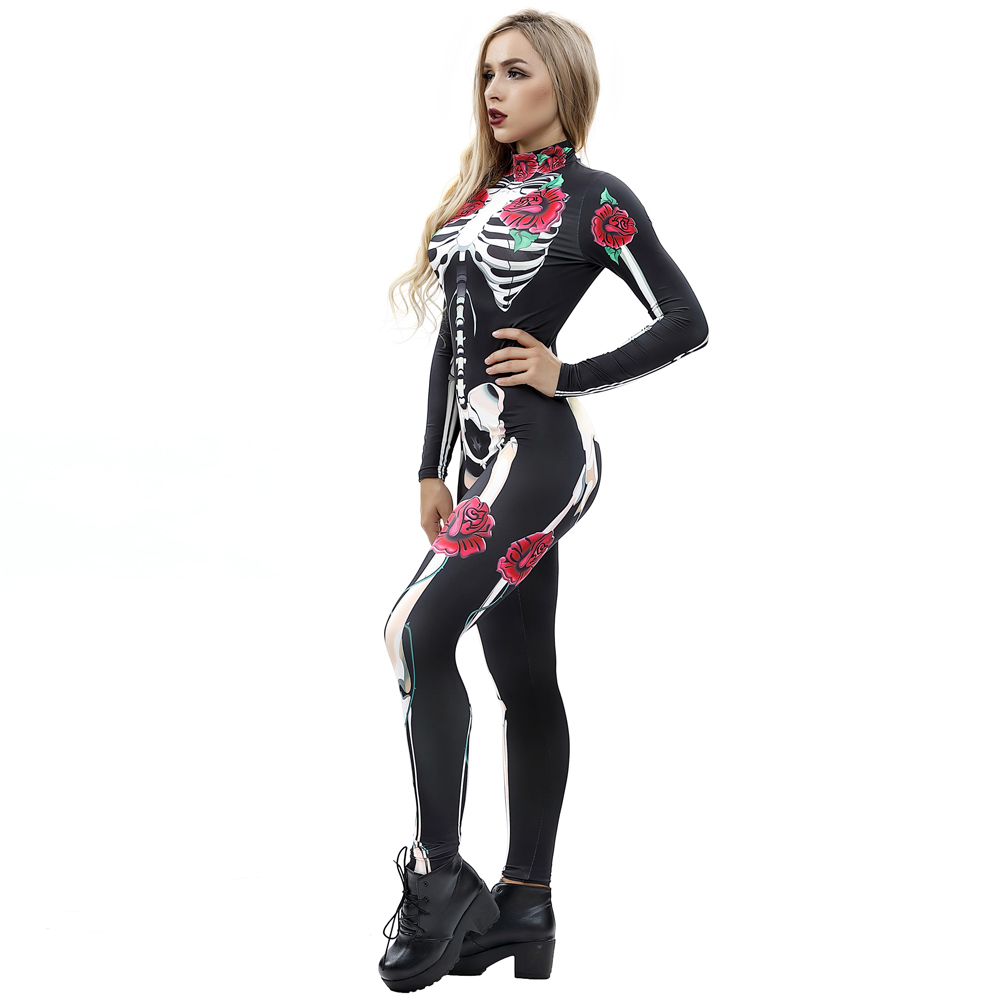 Skinny Model Halloween Costume 3D Style Stretch Jumpsuit