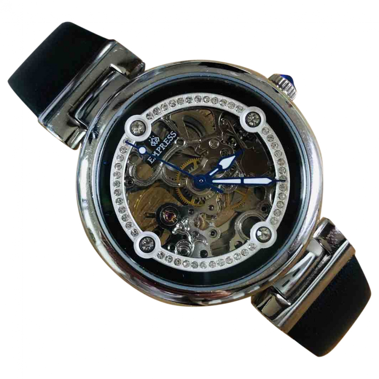 Non Signé / Unsigned \N Black Steel watch for Women \N