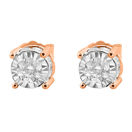Tru Miracle Twist 1 CT. T.W. White Diamond 14K Rose Gold 6.2mm Round Stud Earrings, One Size , No Color Family