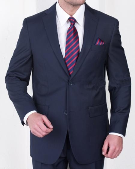 2 Button Navy Poly Rayon Blend Fabric Suit Mens Cheap