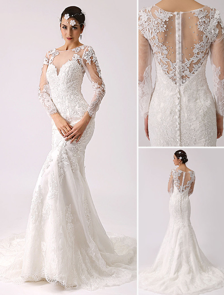 Milanoo Long Sleeve Illusion Neck Mermaid Wedding Dress