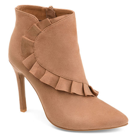 Journee Collection Womens Cress Stiletto Heel Zip Booties, 10 Medium, Brown