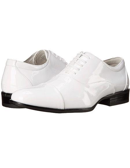 Tuxedo White Shoe Patent Leather Lace-up Closure Cap toe