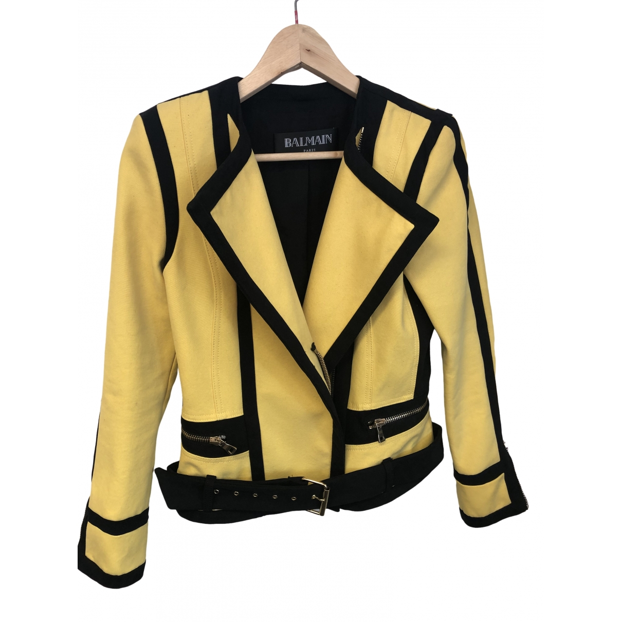 Balmain \N Yellow Cotton jacket for Women 38 FR