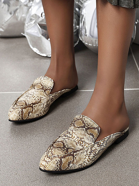Milanoo Womens Flat Mules Shoes White Snake Print Backless Shoes