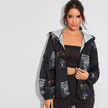 Letter Print Zip-up Hooded Windbreaker Jacket