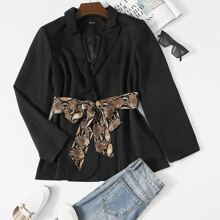 Plus Lapel Neck Split Back Blazer With Snakeskin Belt