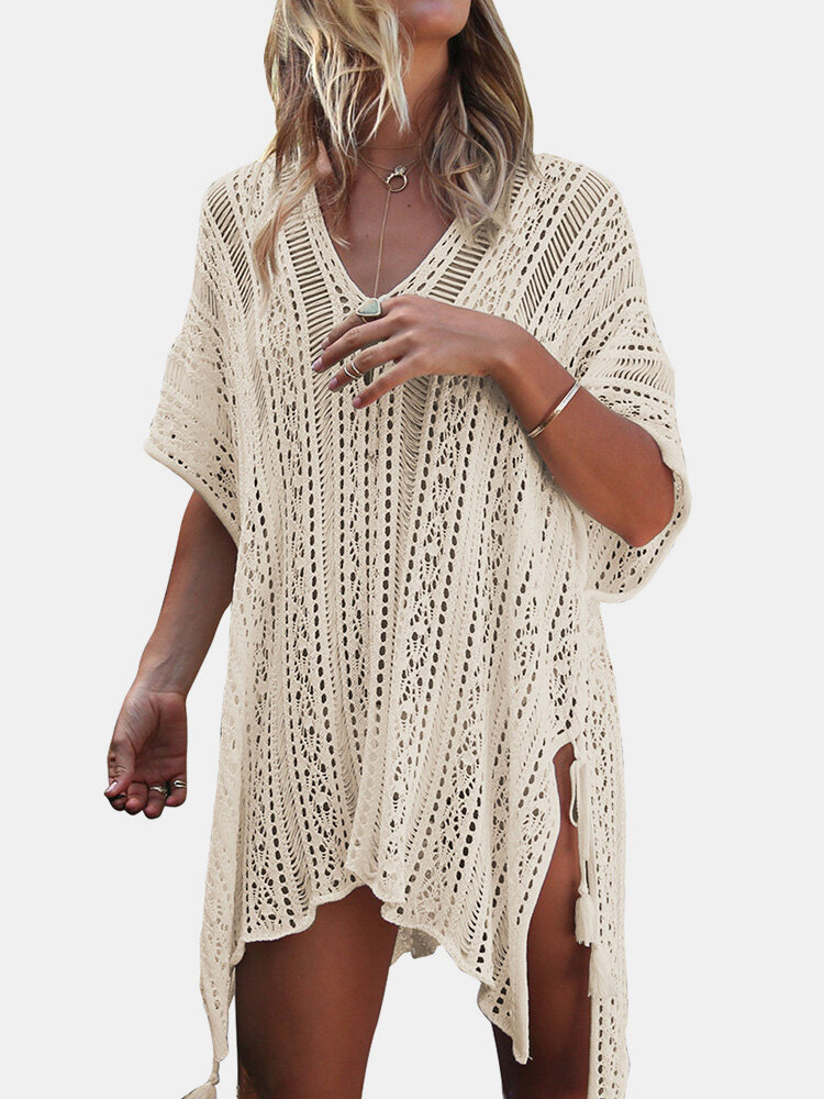 Women Crochet Cover Ups Swimwear Solid Hollow Breathable Sunscreen Beachwear