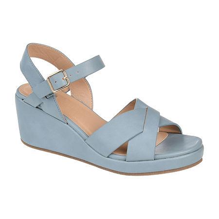 Journee Collection Womens Kirstie Pumps Wedge Heel, 7 Medium, Blue