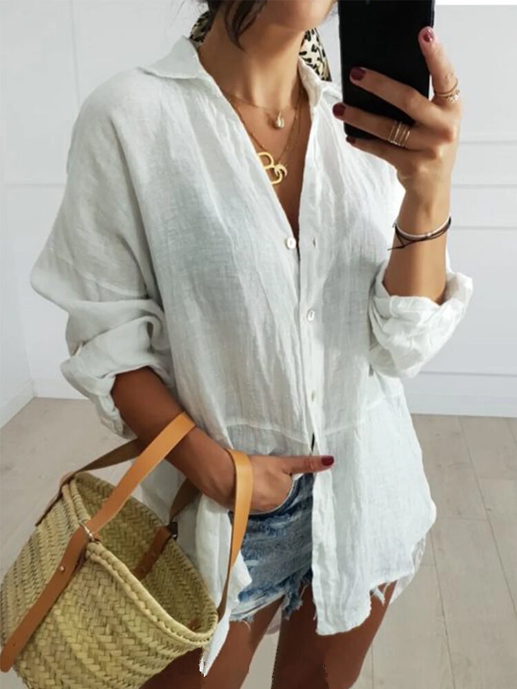 Casual Solid Color Long Sleeve Plus Size Shirt