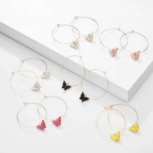6pairs Butterfly Drop Earrings