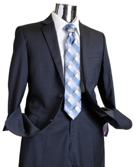 2 Button Navy Tone on Tone Wool Suit Mens