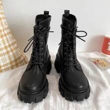 Lace-up Chunky Heeled Combat Boots