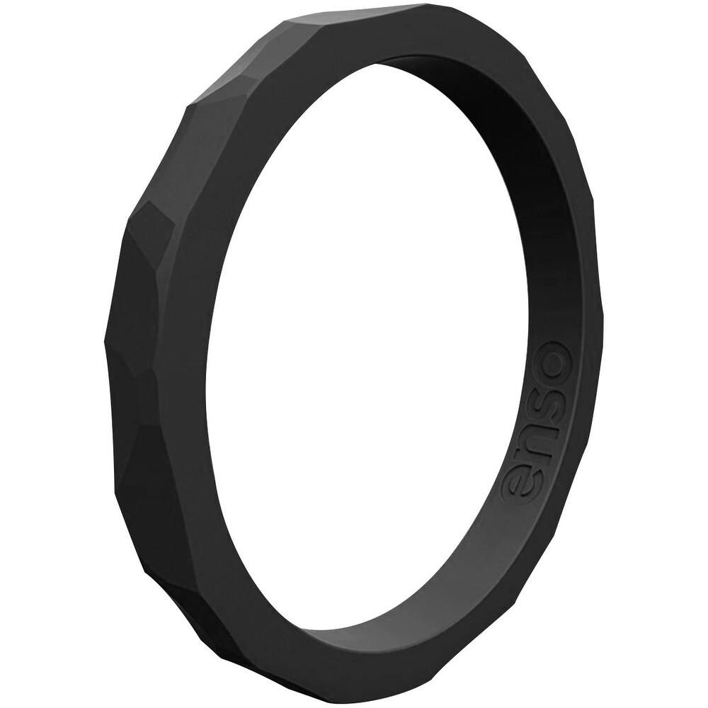 Enso Rings Hammered Stackables Series Silicone Ring - Obsidian (13)