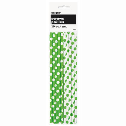 Party Paper Pailles à boire Decorative Dots Vert Citron 10Pcs