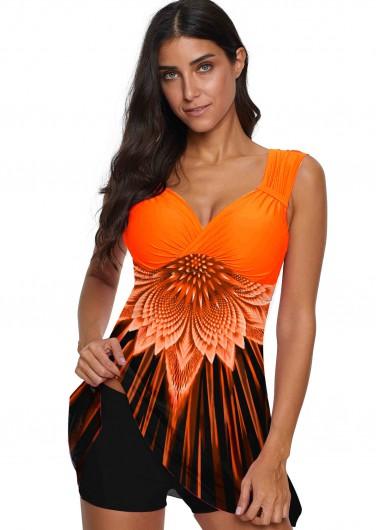 Orange Printed Wide Strap Swimwear Top - S