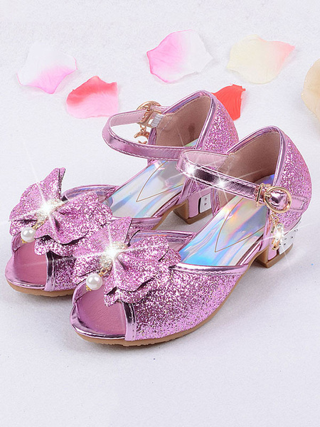 Milanoo Flower Girl Shoes Blond Sequined Cloth Bows Party Kids Shoes Elsa Shoes In Frozen