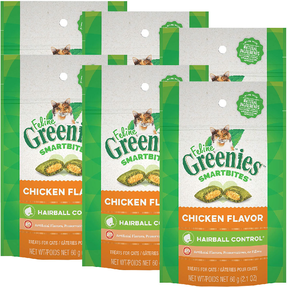 Feline Greenies Smartbites Hairball Control Chicken 6-Pack (12.6 oz)