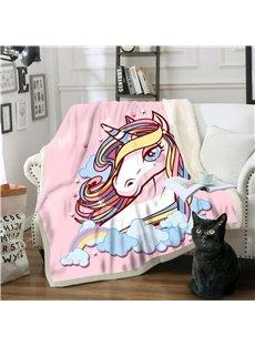 Cartoon Unicorn Thick Warm Blanket Flannel Blankets Air Conditioning Fleece Blankets