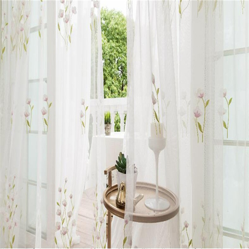 Pastoral Style White Color with Flowers Custom Sheer Curtain for Living Room