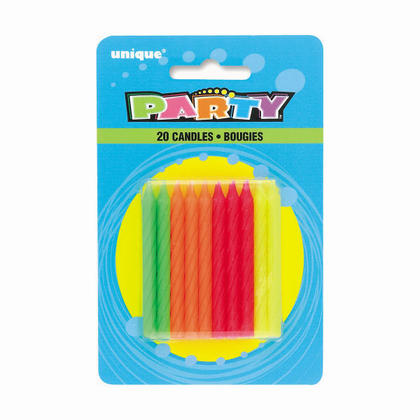 Birthday Candles Multicolor Neon 20Pcs