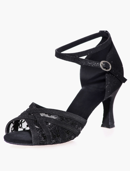 Milanoo Open Toe Black Mesh Glitter Ballroom Shoes