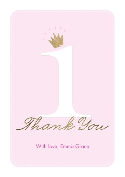 Kids Thank You Cards 5x7 Cards, Premium Cardstock 120lb with Elegant Corners, Card & Stationery -Thank You Set Princess One Crown