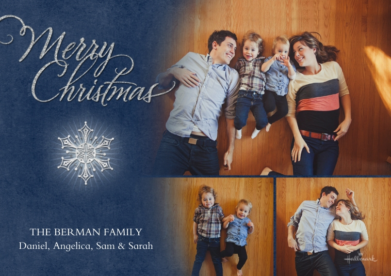 Christmas Photo Cards 5x7 Cards, Standard Cardstock 85lb, Card & Stationery -Merry Christmas Snowflake