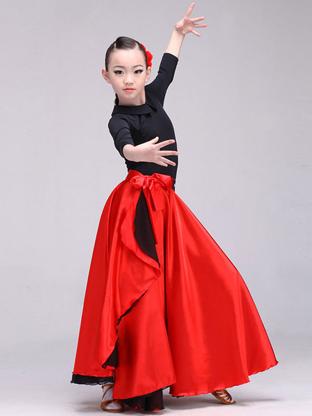 Milanoo Paso Doble Dance Skirt Knotted Red Long Skirt For Women And Kid