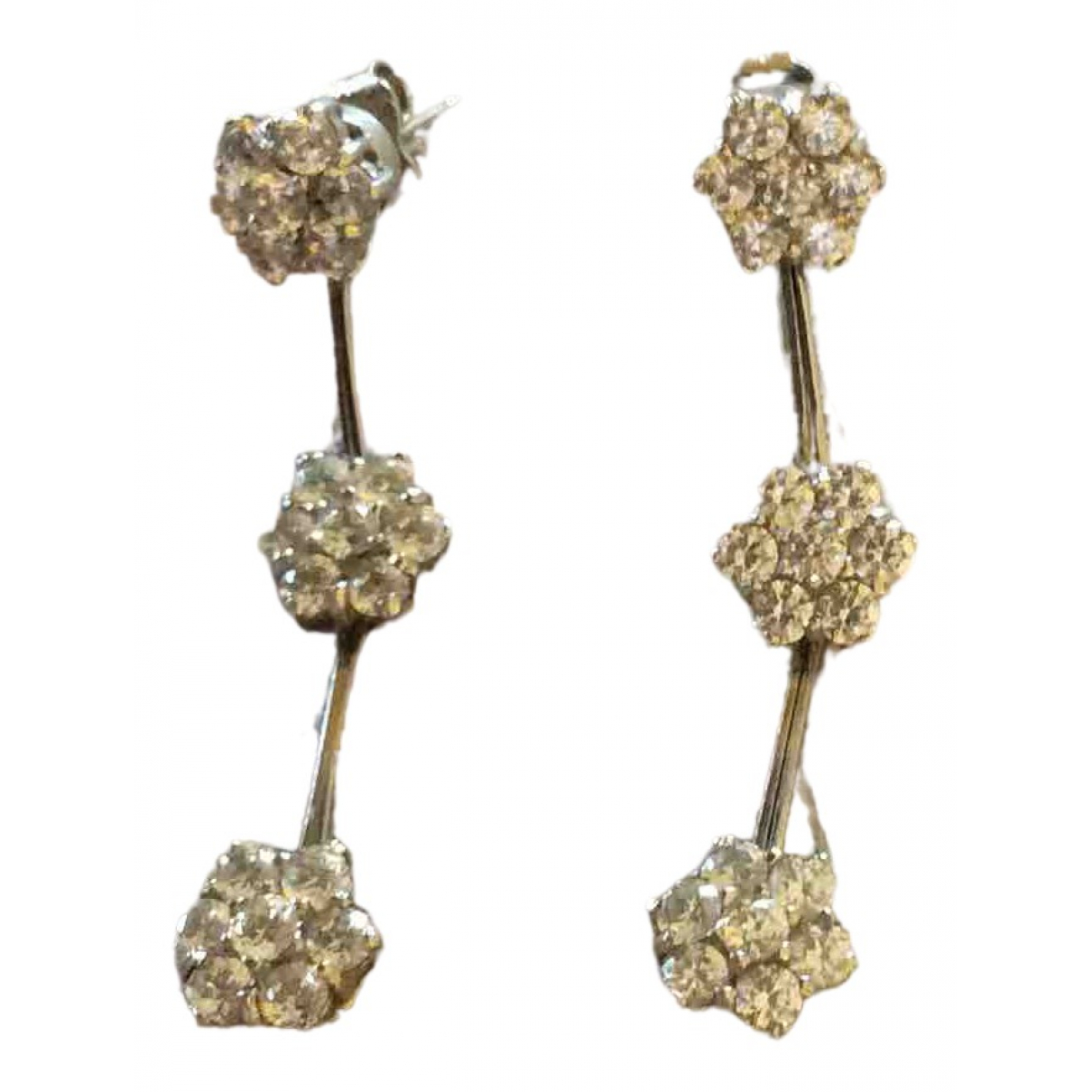 Non Sign?? / Unsigned \N Silver White gold Earrings for Women \N