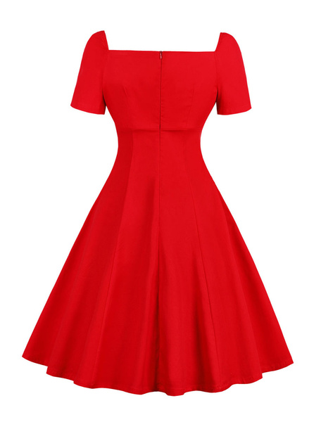 Milanoo Red Vintage Dress Short Sleeve Lace Drawstring Lace Up Two Tone Swing Dress