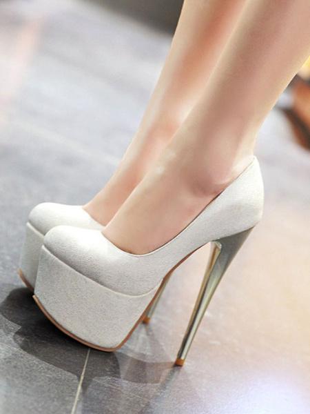 Milanoo Women Sexy High Heels Pink Round Toe Sexy Shoes