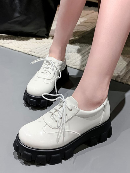 Milanoo Women Flatform Oxfords White Round Toe PU Leather Lace Up Casual Shoes
