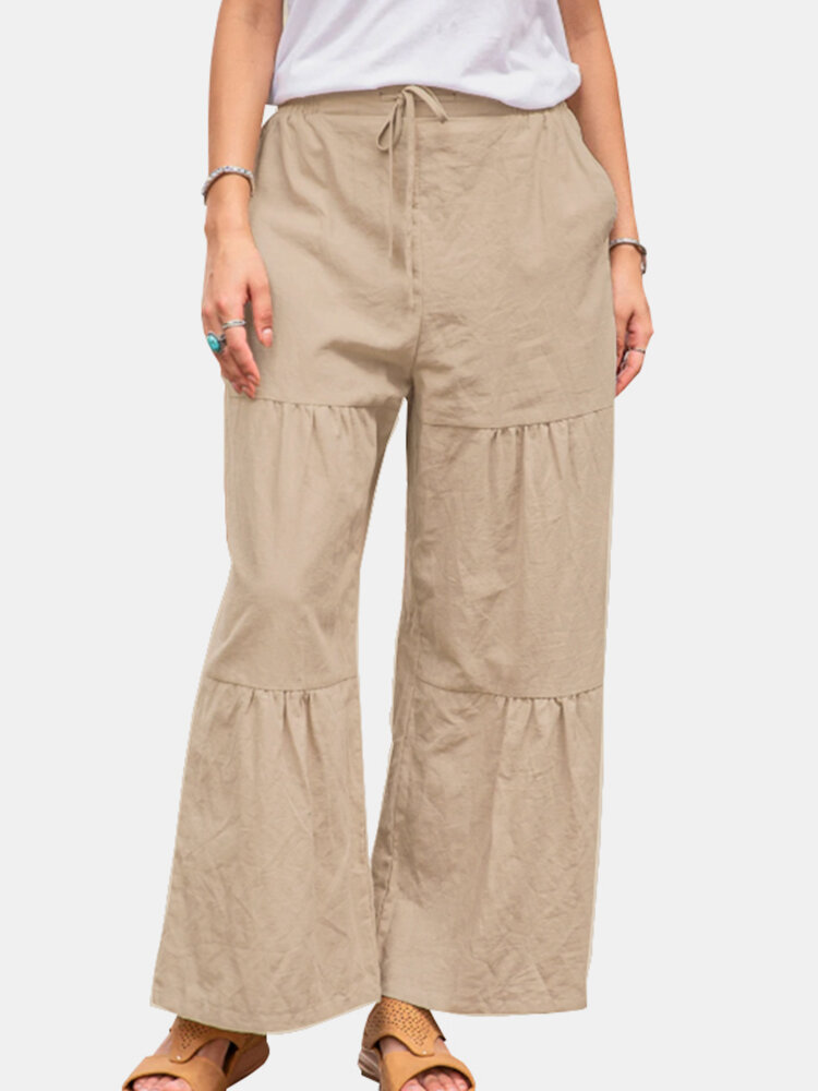 Casual Solid Color Elastic Waist Loose Layered Cotton Pants