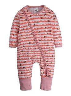 Long Sleeve Covered Feet Red Cotton Zipper Infant Jumpsuit/Bodysuit