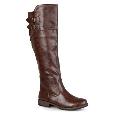 Journee Collection Womens Tori Wide Calf Knee-High Riding Boots, 7 Medium, Brown