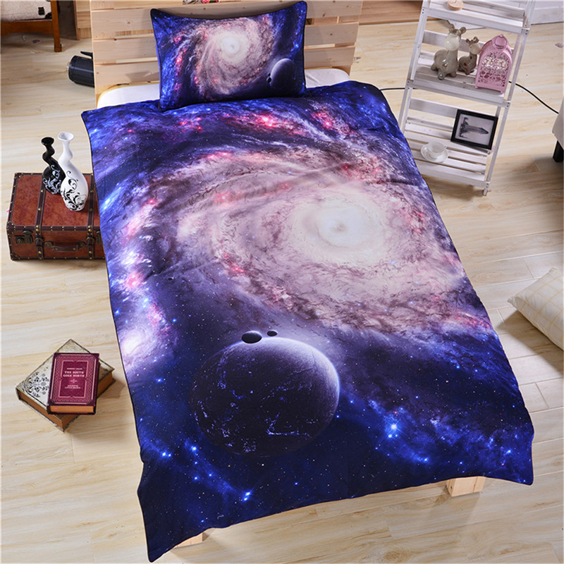 3D Space Galaxy Printed Polyester 3-Piece Blue Bedding Sets/Duvet Covers